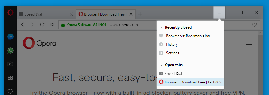 Browser window - Opera Help