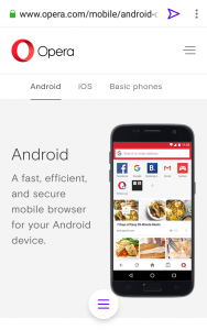 Page view on Opera Touch