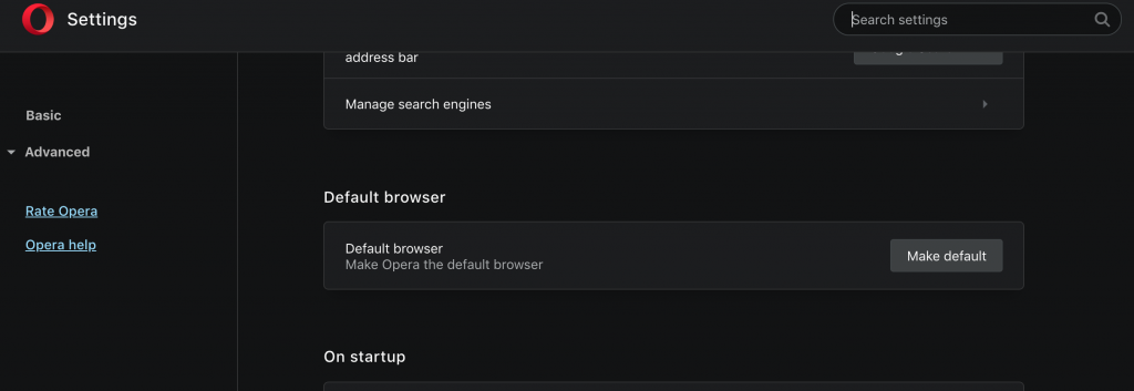 Make Opera your default web browser