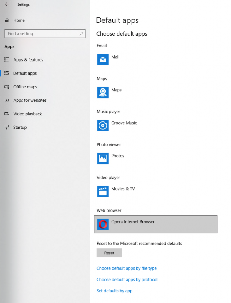 The settings page on Windows 10 where a user can make Opera the default browser for their computer