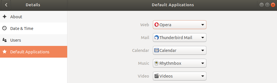 The settings page on Linux Ubuntu where a user can make Opera their default browser.