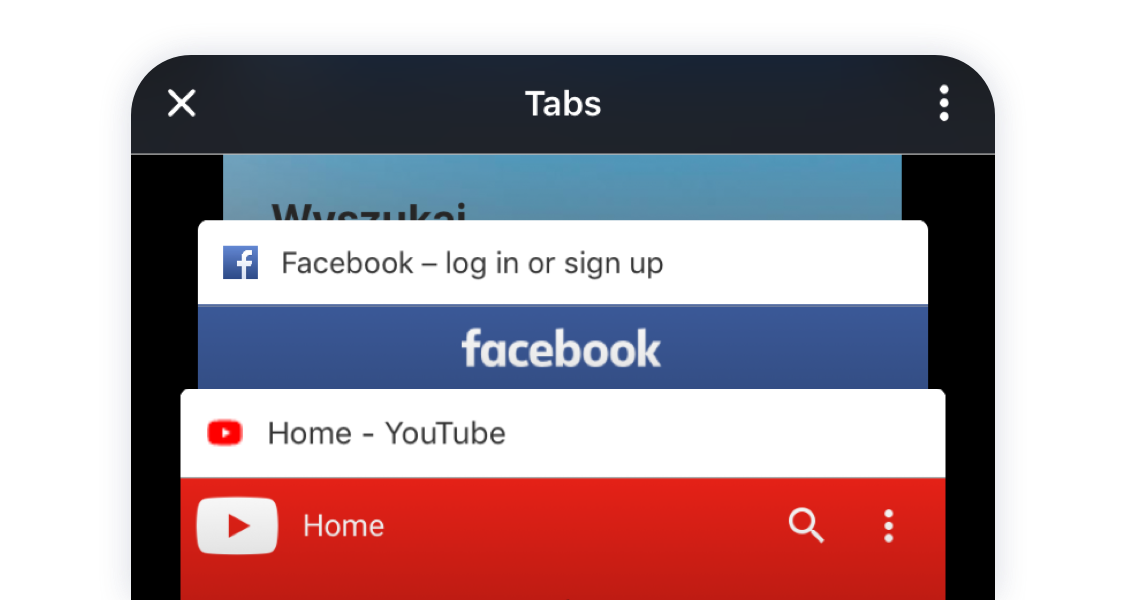 Opera Touch tabs