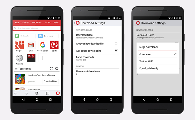 Opera Mini with improved download manager