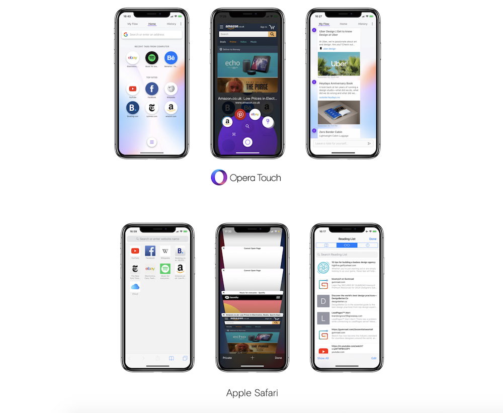 Opera Touch vs Safari comparison