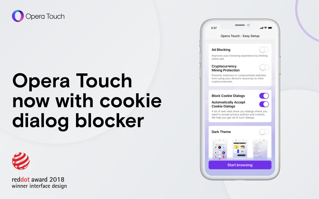 Opera Touch Cookie Blocker