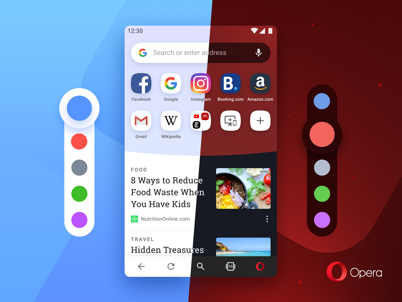Opera for Android offers 10 colors to choose from