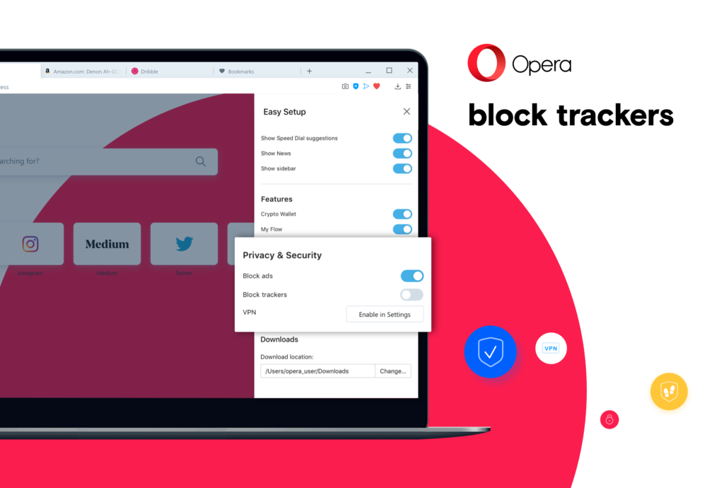 The Opera browser allows you to block trackers