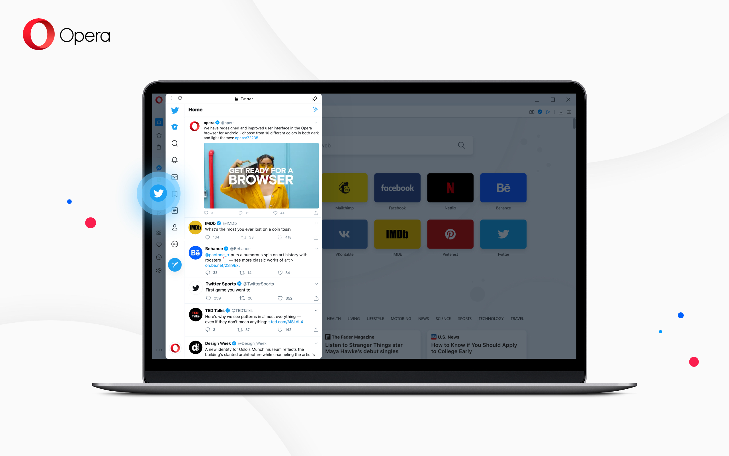 Opera desktop now with built-in Twitter