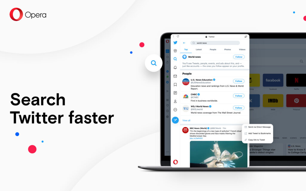 Search Twitter faster with Opera