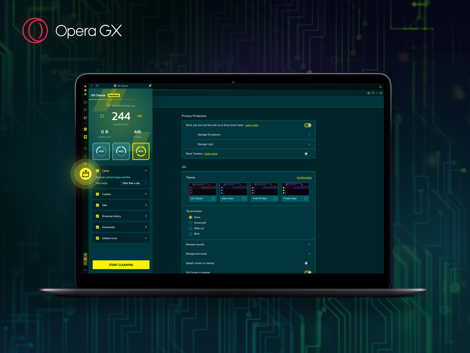 Opera GX now with smart cleaner and color themes